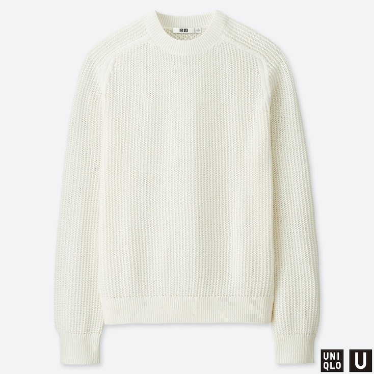MEN U COTTON CREW NECK LONG-SLEEVE SWEATER, OFF WHITE, large