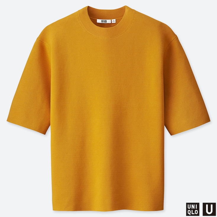MEN U MILANO RIBBED RELAXED CREW NECK SWEATER, YELLOW, large