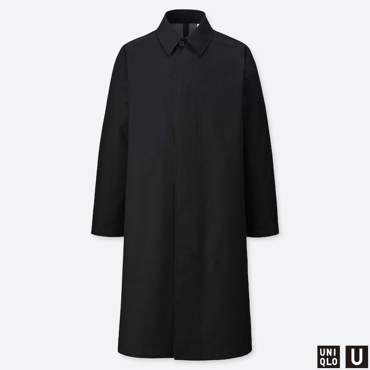 MEN U BLOCKTECH SINGLE BREASTED COAT, BLACK, large