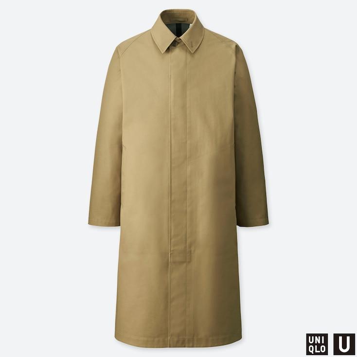 MEN U BLOCKTECH SINGLE BREASTED COAT, BEIGE, large