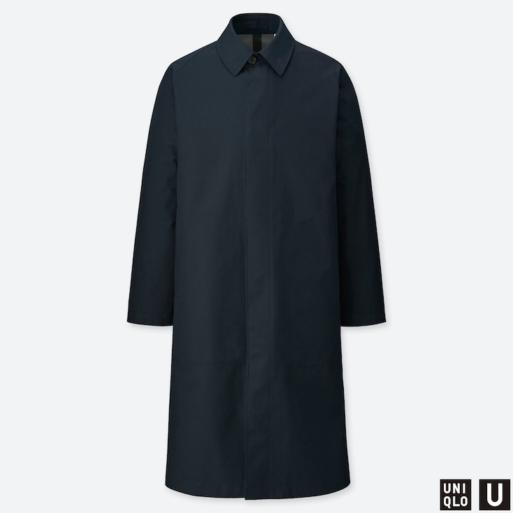 MEN U BLOCKTECH SINGLE BREASTED COAT, NAVY, large