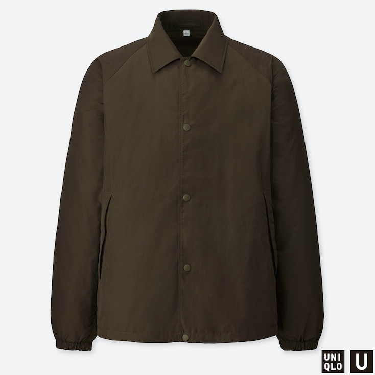MEN U POCKETABLE COACH JACKET, DARK GREEN, large