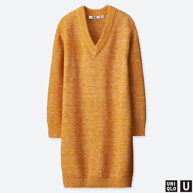 WOMEN UNIQLO U MIXED COLOUR OVERSIZED LONG SLEEVED DRESS