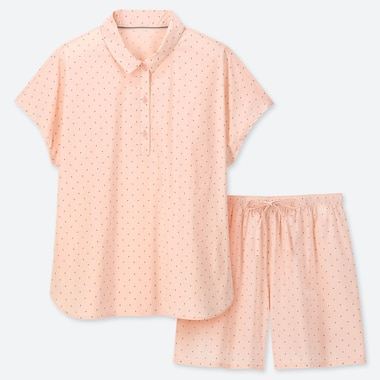 WOMEN SOFT STRETCH DOTTED SHORT SLEEVE PYJAMAS