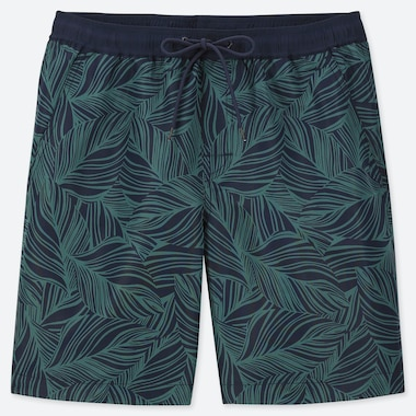 MEN MESH LEAF PRINT ACTIVE SWIM SHORTS