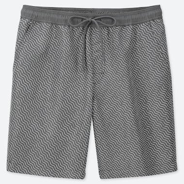 MEN MESH LINE PRINT ACTIVE SWIM SHORTS