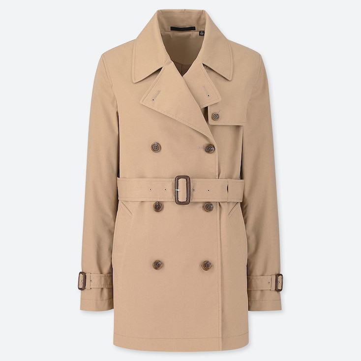 WOMEN SHORT TRENCH COAT, BEIGE, large