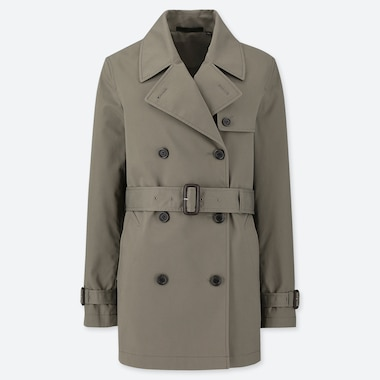 WOMEN SHORT TRENCH COAT, OLIVE, medium