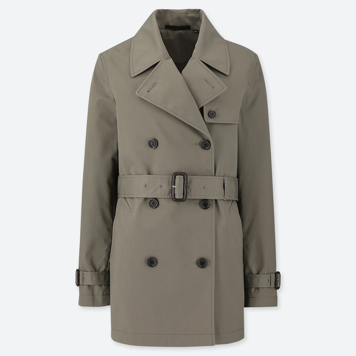 WOMEN SHORT TRENCH COAT, OLIVE, large