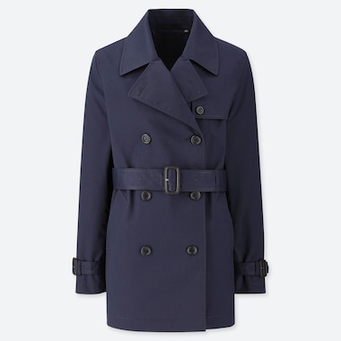 WOMEN DOUBLE BREASTED BELTED SHORT TRENCH COAT