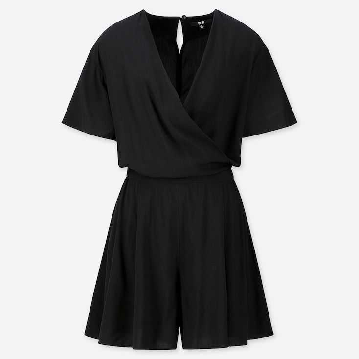 WOMEN RAYON SHORT-SLEEVE ROMPER (ONLINE EXCLUSIVE), BLACK, large