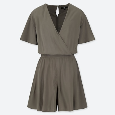 WOMEN RAYON WRAP SHORT SLEEVED PLAYSUIT