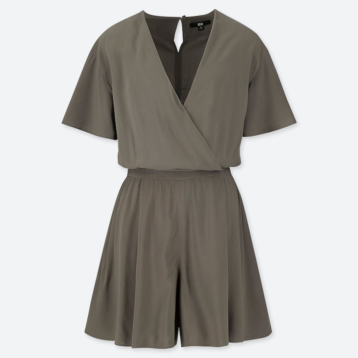 WOMEN RAYON SHORT-SLEEVE ROMPER (ONLINE EXCLUSIVE), OLIVE, large