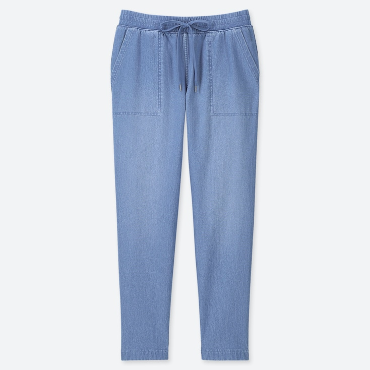 PANTALONI DONNA AFFUSOLATI IN JERSEY DENIM