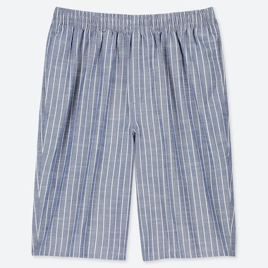 MEN EASY LIGHT CHAMBRAY COTTON STRIPED SHORTS