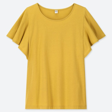 WOMEN RUFFLE SLEEVE SHORT-SLEEVE T-SHIRT, YELLOW, medium