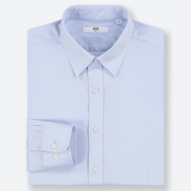 MEN EASY CARE DOBBY REGULAR-FIT LONG-SLEEVE SHIRT, BLUE, medium