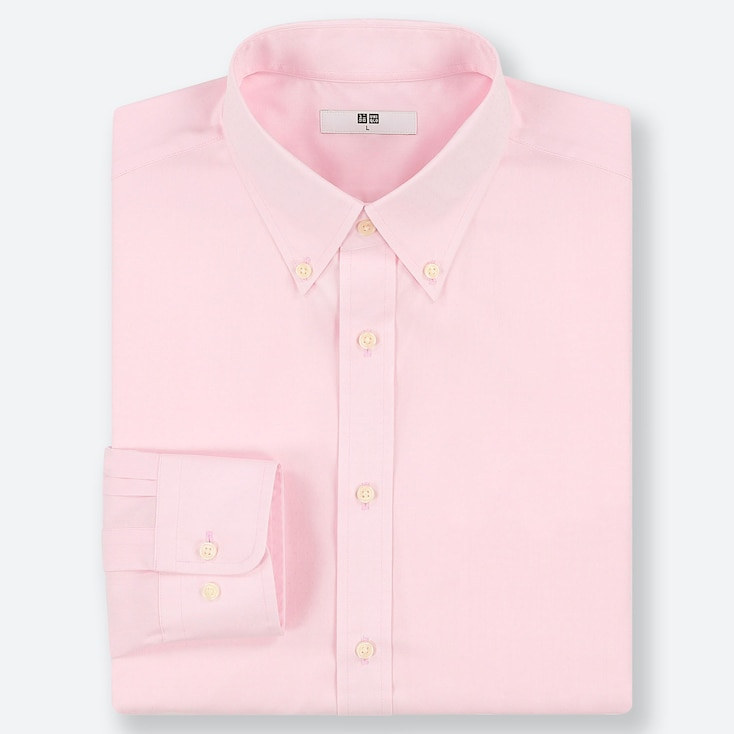 MEN EASY CARE DOBBY REGULAR-FIT LONG-SLEEVE SHIRT, PINK, large