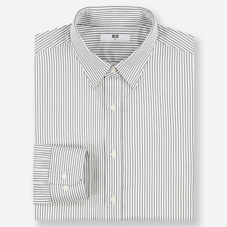 MEN EASY CARE STRIPED REGULAR-FIT LONG-SLEEVE SHIRT, GRAY, large