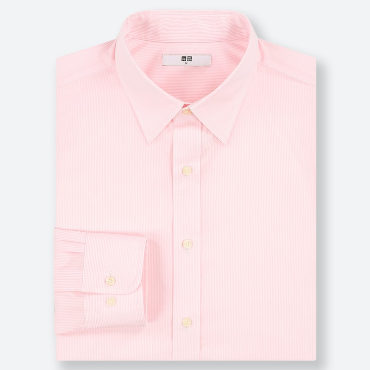 MEN EASY CARE STRIPED REGULAR-FIT LONG-SLEEVE SHIRT, PINK, large