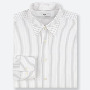 MEN EASY CARE STRIPED REGULAR-FIT LONG-SLEEVE SHIRT, OFF WHITE, medium