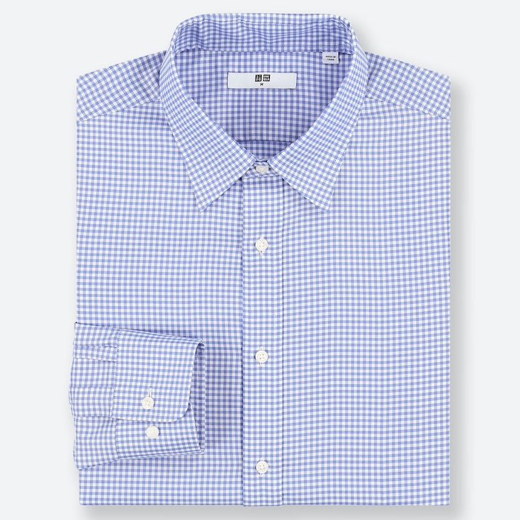 MEN EASY CARE CHECKED REGULAR-FIT LONG-SLEEVE SHIRT, BLUE, large