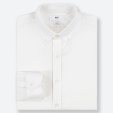 MEN EASY CARE OXFORD STRETCH SLIM-FIT LONG-SLEEVE SHIRT, WHITE, medium