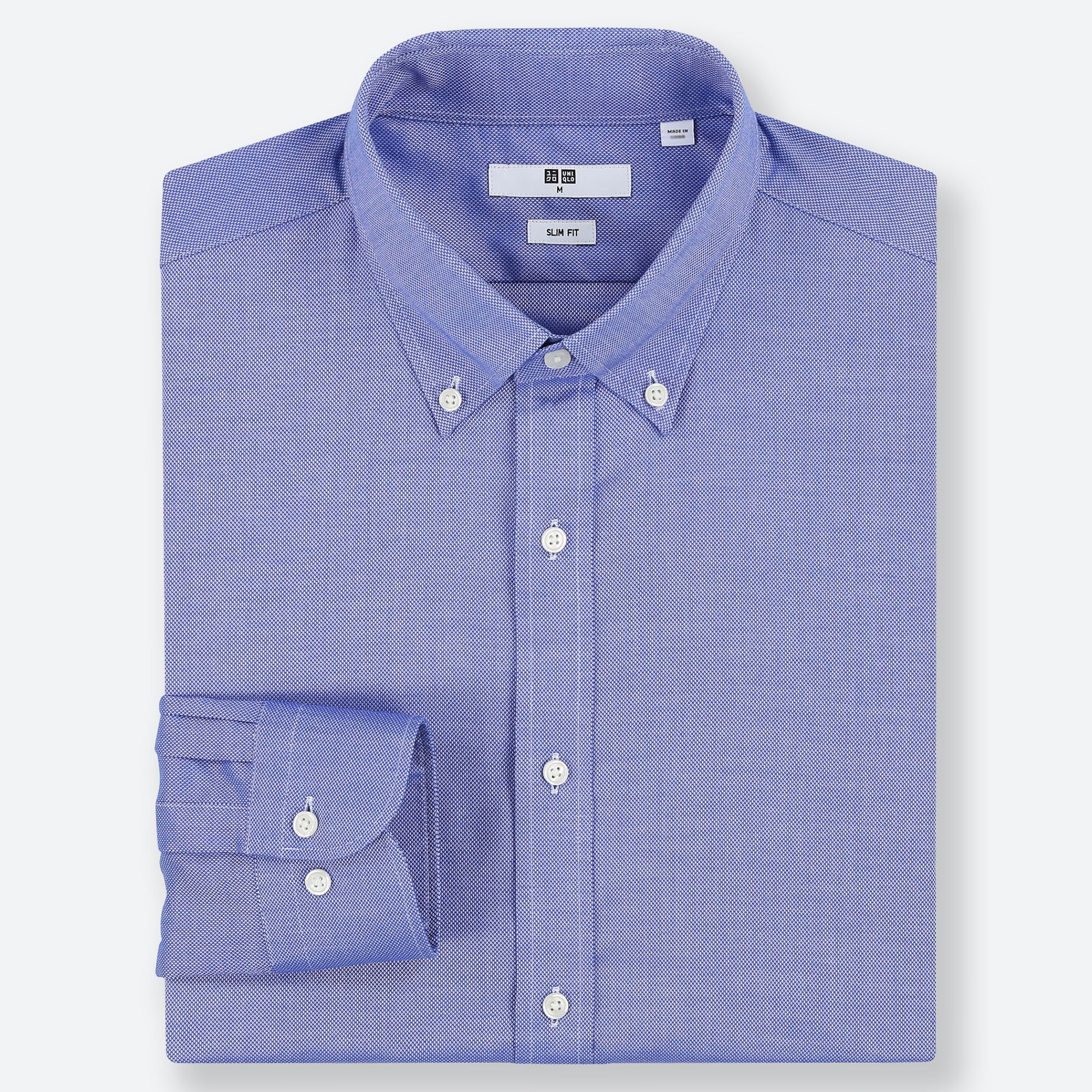 MEN EASY CARE OXFORD STRETCH SLIM-FIT LONG-SLEEVE SHIRT