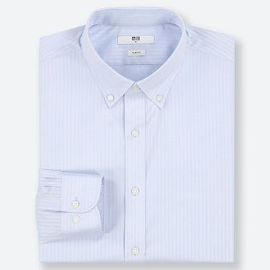 MEN EASY CARE DOBBY STRETCH SLIM-FIT LONG-SLEEVE SHIRT, LIGHT BLUE, medium