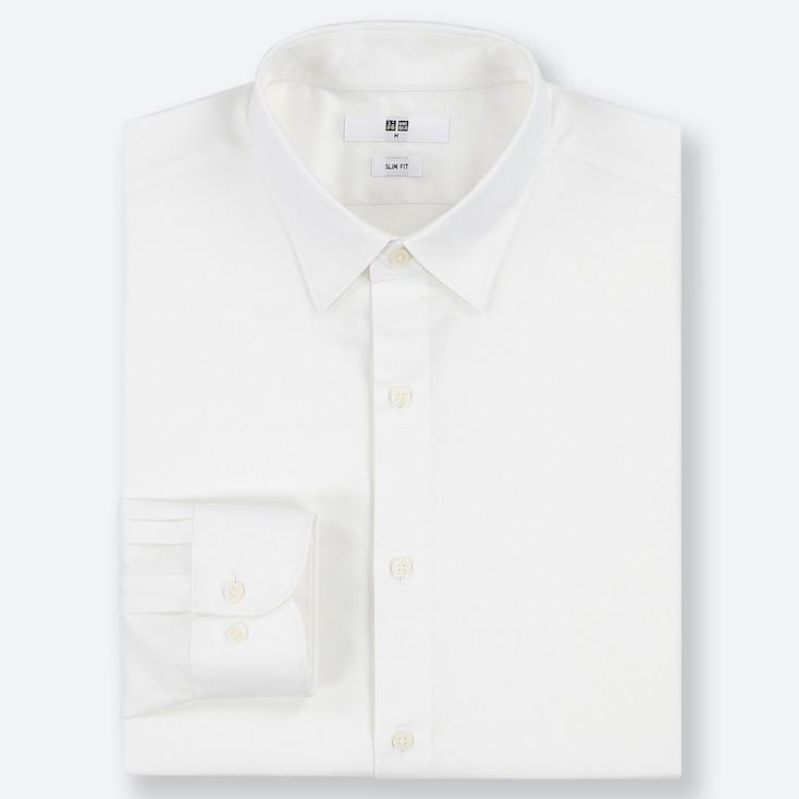 MEN EASY CARE DOBBY STRETCH SLIM-FIT LONG-SLEEVE SHIRT, WHITE, large