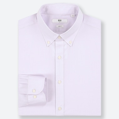 MEN EASY CARE DOBBY STRETCH SLIM-FIT LONG-SLEEVE SHIRT, LIGHT PURPLE, medium
