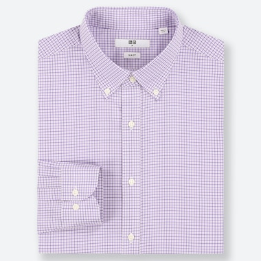 MEN EASY CARE CHECKED STRETCH SLIM-FIT LONG-SLEEVE SHIRT, PURPLE, medium