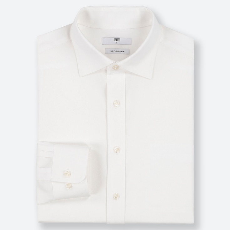 MEN SUPER NON-IRON REGULAR-FIT LONG-SLEEVE SHIRT (ONLINE EXCLUSIVE), WHITE, large