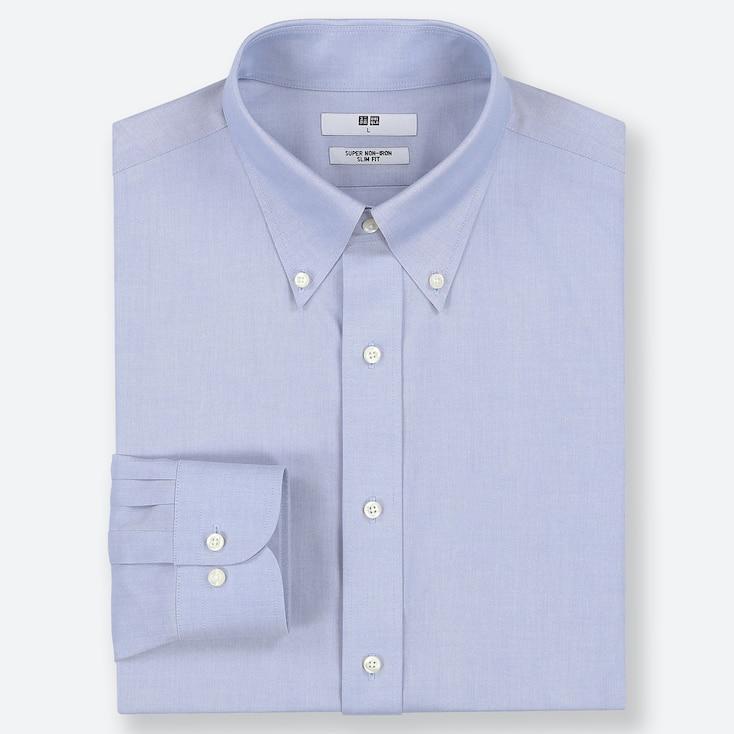 MEN SUPER NON-IRON SLIM-FIT LONG-SLEEVE SHIRT, LIGHT BLUE, large
