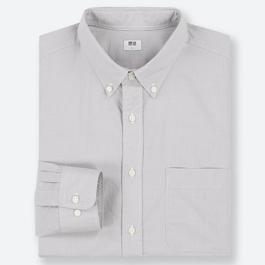 Men Extra Fine Cotton Broadcloth Long-Sleeve Shirt, Gray, Medium