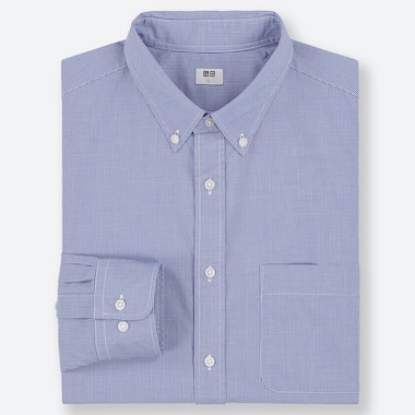 CAMICIA UOMO IN FINISSIMO POPELINE DI COTONE A QUADRI (COLLETTO BUTTON-DOWN)