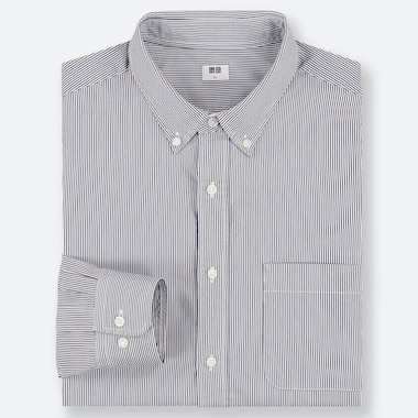 CAMICIA UOMO A RIGHE IN POPELINE DI COTONE FINISSIMO (COLLETTO BUTTON-DOWN)