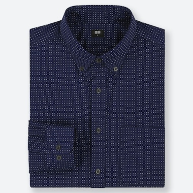 CAMICIA UOMO A POIS IN POPELINE DI COTONE FINISSIMO (COLLETTO BUTTON-DOWN)