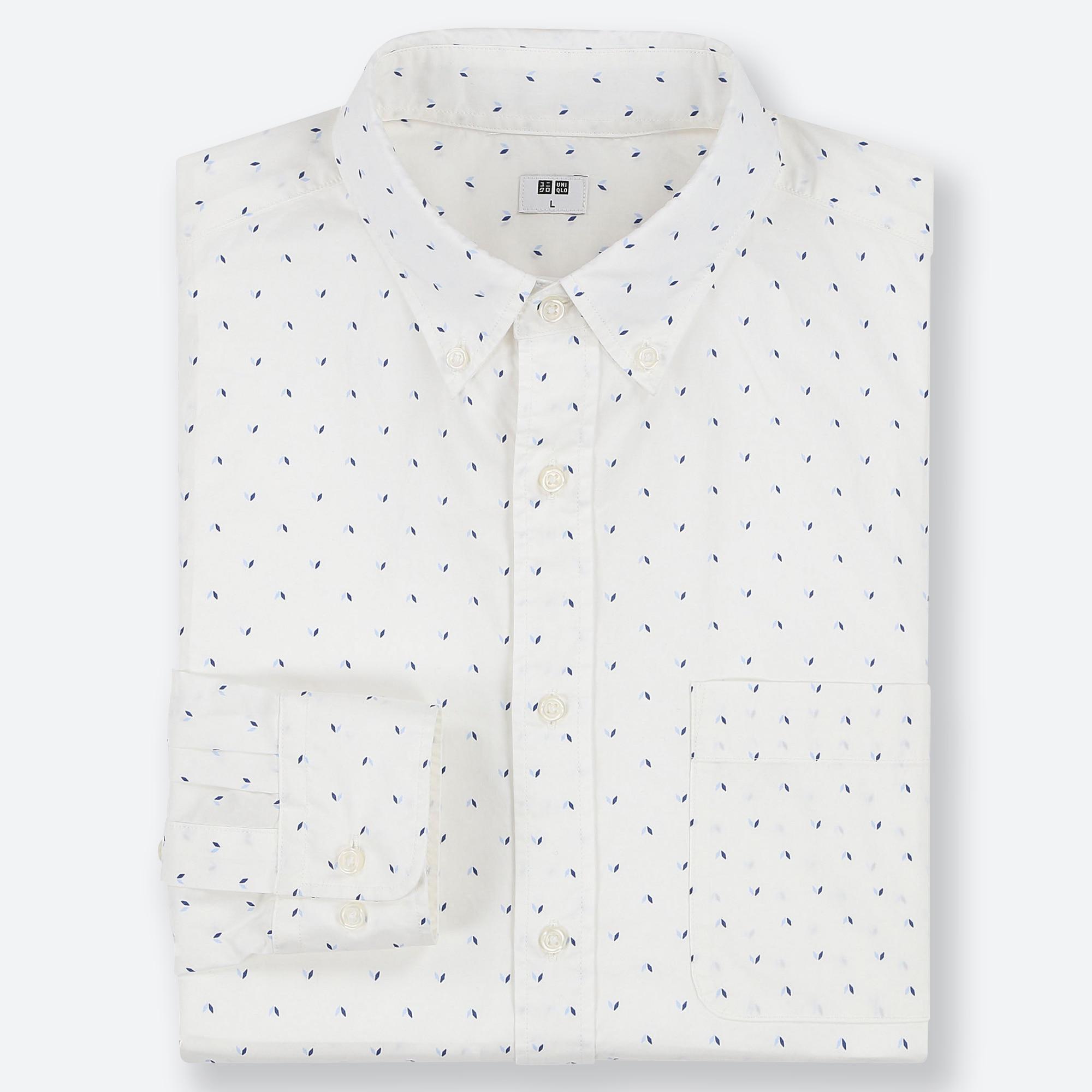 men\u0027s shirts uniqlomen extra fine cotton broadcloth print shirt (button down collar)
