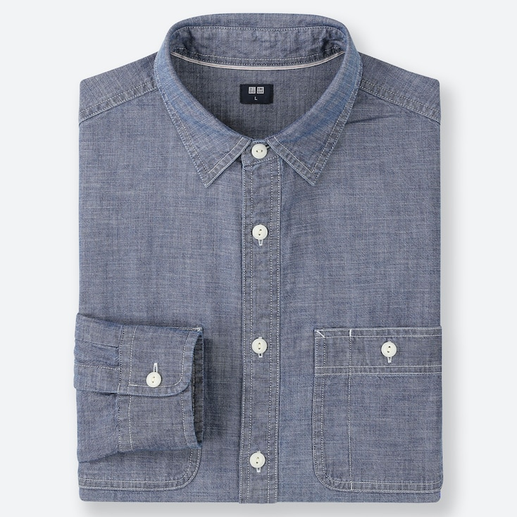MEN CHAMBRAY WORK LONG-SLEEVE SHIRT (ONLINE EXCLUSIVE), BLUE, large