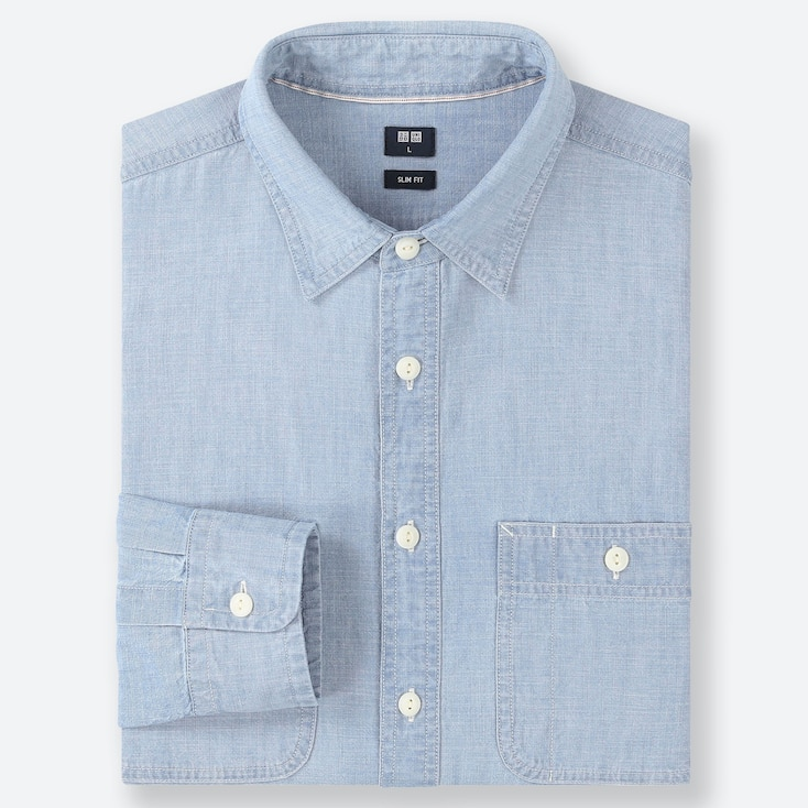 CAMICIA UOMO SLIM FIT IN CHAMBRAY (COLLETTO CLASSICO)