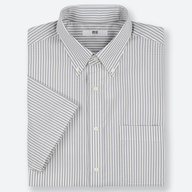 MEN DRY EASY CARE STRIPED SHORT-SLEEVE SHIRT (ONLINE EXCLUSIVE), GRAY, large