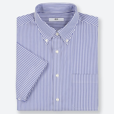 MEN DRY EASY CARE STRIPED SHORT-SLEEVE SHIRT (ONLINE EXCLUSIVE), BLUE, medium