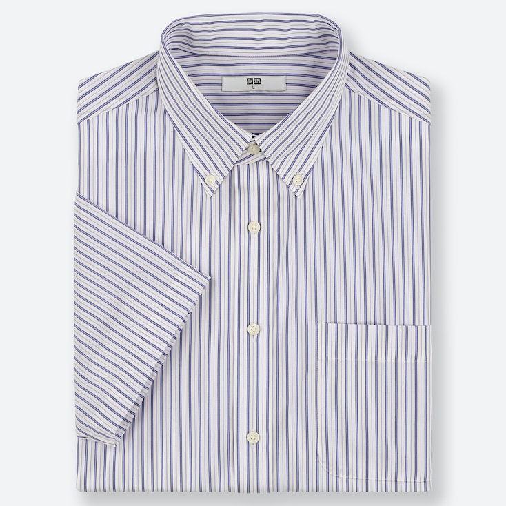 MEN DRY EASY CARE STRIPED SHORT-SLEEVE SHIRT (ONLINE EXCLUSIVE), BLUE, large
