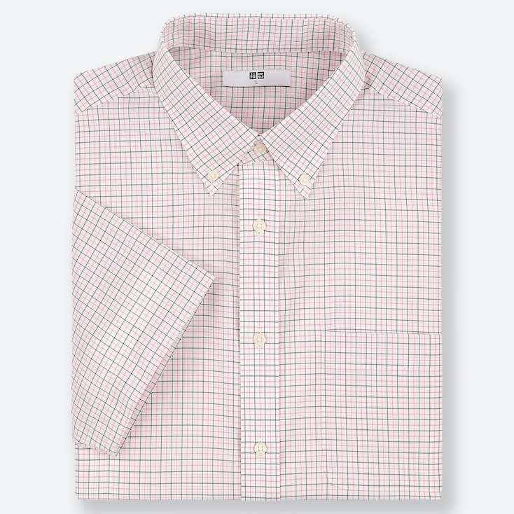 MEN DRY EASY CARE CHECKED SHORT-SLEEVE SHIRT (ONLINE EXCLUSIVE), PINK, large
