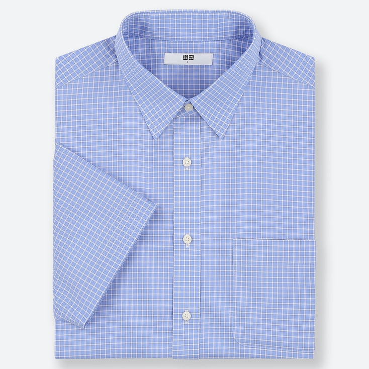 MEN DRY EASY CARE CHECKED SHORT-SLEEVE SHIRT (ONLINE EXCLUSIVE), BLUE, large