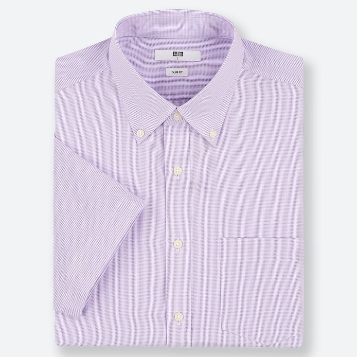 MEN DRY EASY CARE SLIM-FIT SHORT-SLEEVE SHIRT (ONLINE EXCLUSIVE), PURPLE, large