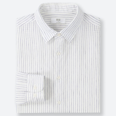 f60fa7f78a47ed MEN PREMIUM LINEN STRIPED SHIRT (REGULAR COLLAR)