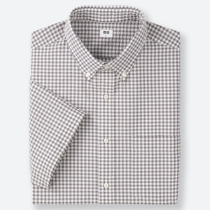MEN DRY SEERSUCKER CHECKED SHORT-SLEEVE SHIRT, GRAY, large