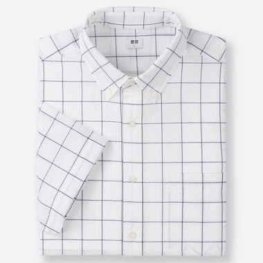 HERREN KURZÄRMLIGES KARIERTES DRY EASY CARE HEMD AUS SEERSUCKER MIT BUTTON-DOWN-KRAGEN